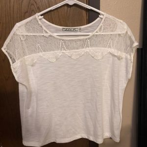 White flowy top with lace detail